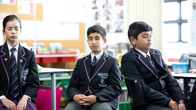 Children and young people practice mindfulness